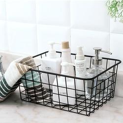 Household Iron Art Storage Basket Kitchen Bedroom Sundries Snacks Organizer Basket Black White