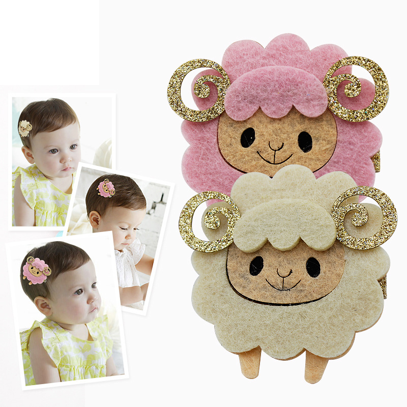 2017 New Children's Cartoon Sheep Hair Headdress Hairpins Girls Headwear Baby Hair Clips Kids Hair Accessories Princess Barrette pf leaf shape hairpins crystal cute headwear alloy hair clips barrette women girls headdress spring clip hair accessories ts1160