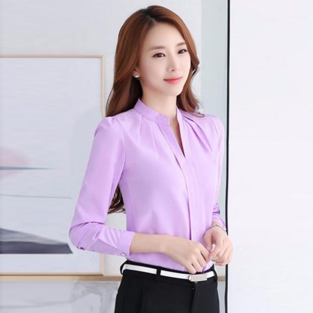 Elegant Slim Solid Color Tops
