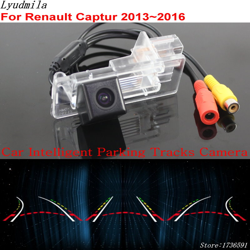 Lyudmila Car Intelligent Parking Tracks Camera FOR Renault Captur 2013~2018 HD CCD Car Back up Reverse Rear View Camera for dacia duster 2010 2014 car intelligent parking tracks camera hd back up reverse camera rear view camera