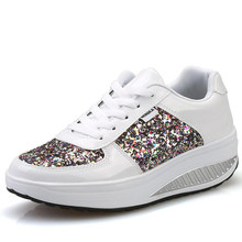 YeddaMavis Women Shoes Sneakers 2019 Spring New Fashion White Lace Up Casual Sequins Womens Woman Dance