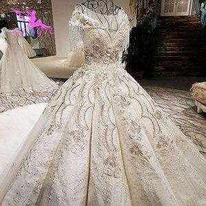 Image 2 - AIJINGYU 웨딩 간단한 드레스 집시 스타일 가운 2021 빅 사이즈 약혼 공주 기차 사용자 정의 가운 대체 웨딩 드레스