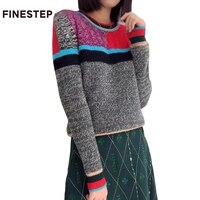 Цветной Свитер в полоску осенне зимний свитер в стиле ретро с длинным рукавом вязаный Для женщин свитер Повседневное