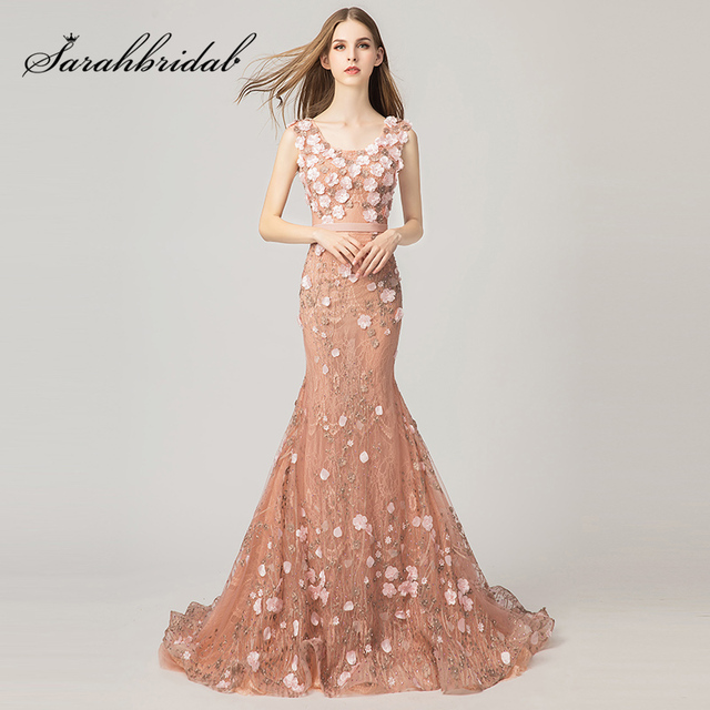 6800aa08ddb2 New Design Dusty Rose Prom Dresses Long Mermaid Evening Party Gown with 3D  Flowers Appliques Elegant Women Formal Dress L3174