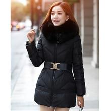 2018 New parka winter jacket women autumn coat full sleeve hooded big fur collar rabbit fashion coats ukraine
