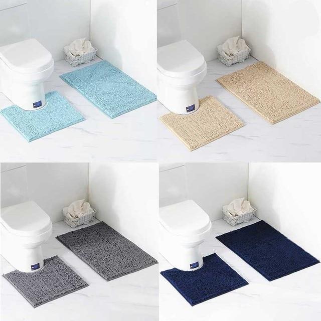 2 adet/takım Shaggy kaymaz Banyo Tuvalet Paspas Seti Şönil Emici Banyo Halısı Ayaklı Küvet Mat