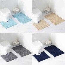 2pcs/set Shaggy Anti slip Bath Toilet Mats Set Chenille Absorbent Bathroom Carpet Pedestal Bath Mat