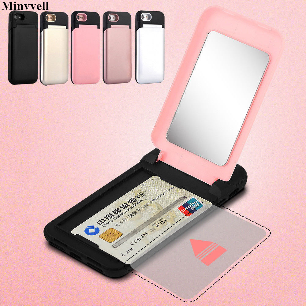 Luxury <font><b>Case</b></font> for <font><b>iPhone</b></font> 7 8 Cover 7plus 8plus Card Slot Wallet Flip Hybrid Shockproof <font><b>Case</b></font> Cover With Mirror For <font><b>iPhone</b></font> 8 7 Plus image