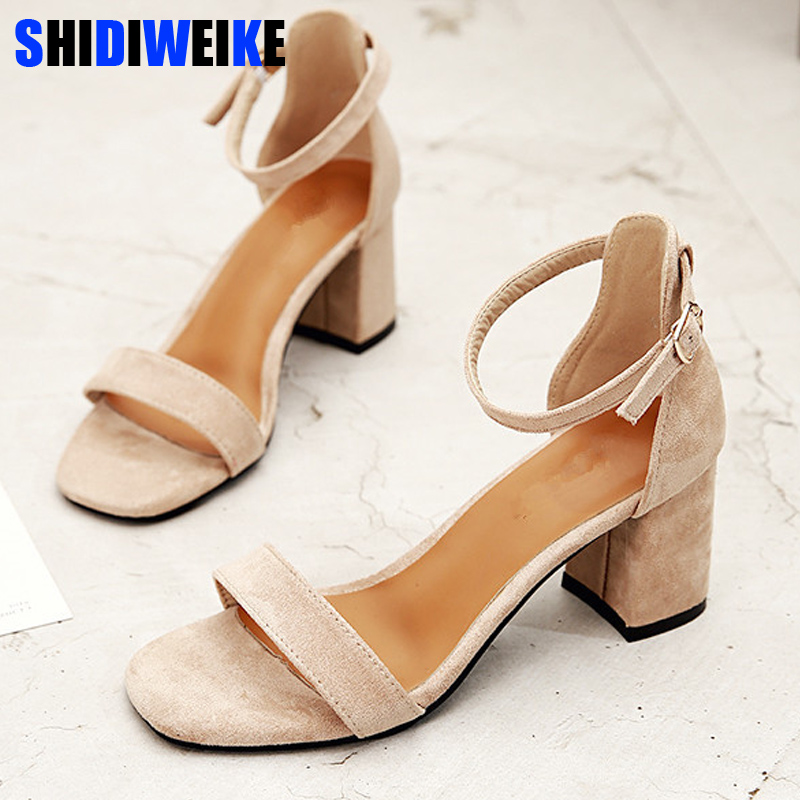 Beige Black Gladiator Sandals Summer Office High Heels Shoes Woman Buckle Strap Pumps Casual Women Shoes Plus Size 34-40 N686(China)