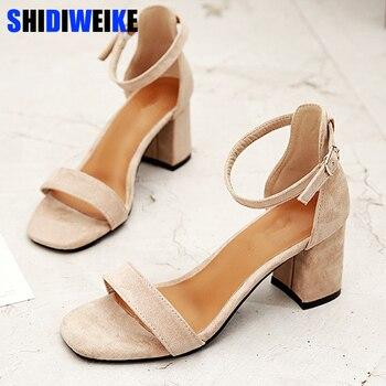 7ac0cf15 Sandalias de gladiador negro Beige zapatos de tacón alto de oficina de  verano zapatos de mujer con hebilla zapatos casuales de Mujer talla grande  34- 40 ...