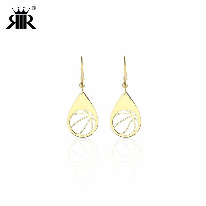RIR Stainless Steel Water Drop Frame Hollowed Basketball Drop Earrings Simple Sports Irregular Ladies Jewellery Earrings