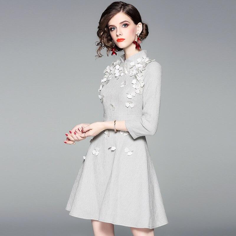 Femmes Gris Color De Piste Vintage Fleur Supérieure Travail Automne Robe Robes picture Qualité Dames D'hiver Bureau A Parti ligne Mode Nouvelle 2018 a14dFH1nW