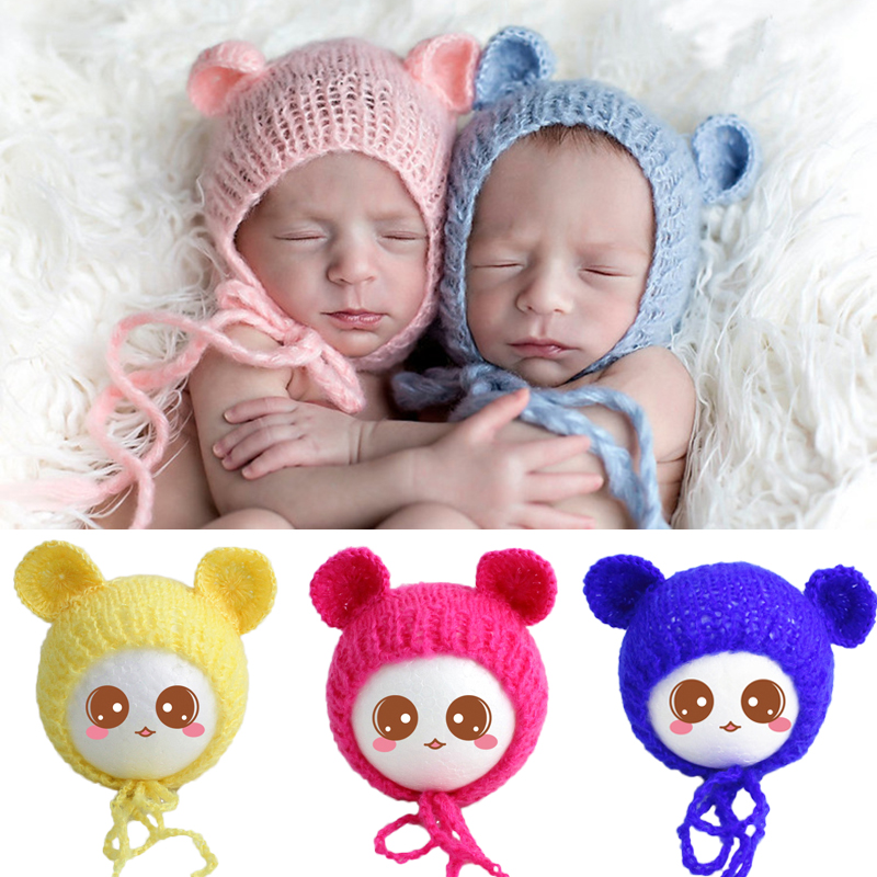New Baby Hat Soft Mohair Bear Ear Newborn Knitted Hat Cap Infant Photography Props Crochet Pictures Accessories Bonnet