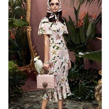 SE Summer Women Silk Floral Dress Butterfly Sleeve Lily Print Elegant Mermaid Embroidery Dresse Fashion Holiday Runway