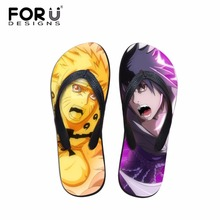 FORUDESIGNS Fashion Anime Naruto Print Men Summer Slipper Cool Flip Flops Rubber Beach Flip-Flop Boys Home Casual Shoes Student