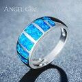 Angel Girl Роскошные Ювелирные Изделия Природные Австралия Синий Опал Кольца для женщин Белый Позолоченный Обручальные Кольца R63-60819