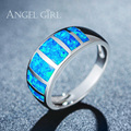 Angel Girl Luxury Jewelry Natural  Australia  Blue  Opal Ring for women White Gold Plated  Engagement Wedding Rings R63-60819