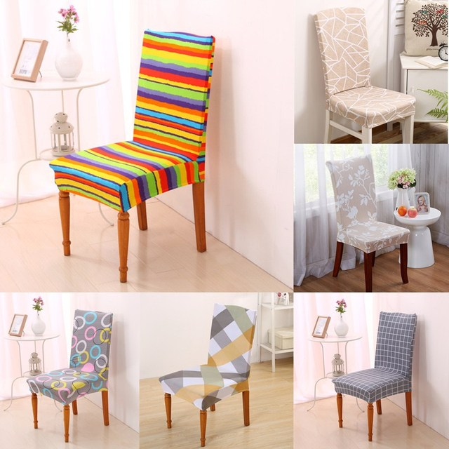 1Pcs Removable Dining Room Chair Stretch Seat Cover Decor Stripes Pattern