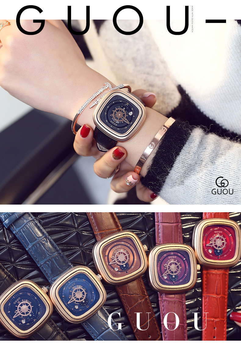 de quartzo feminino pulseira de couro relógio