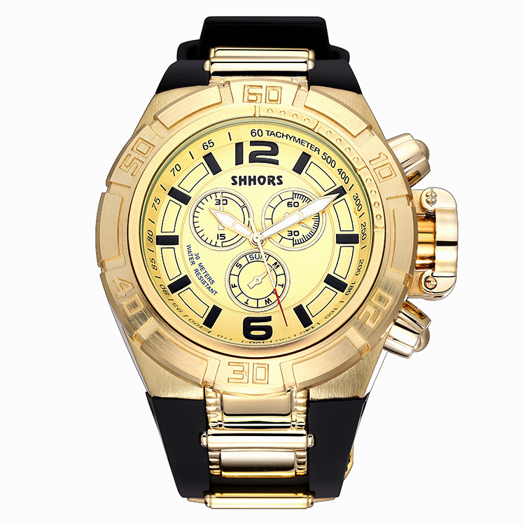 SHHORS Brand Sport Military Watch Big Dial Army Watch Rubber Band Luxury Golden Watches Men Gold Male Clock Relogio Masculino oulm men dual movt big dial japan luxury military watches men stainless steel strap wristwatches male golden clock