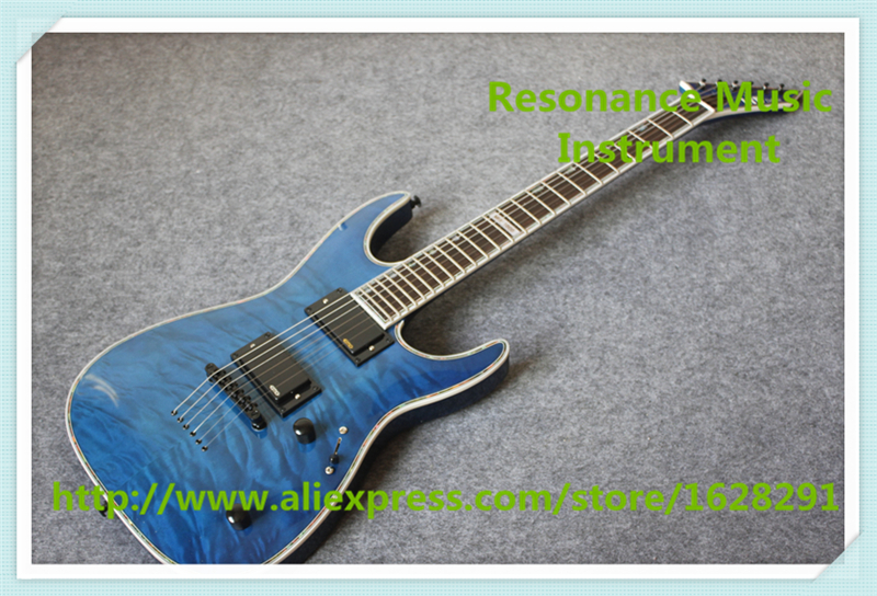 Custom Shop Blue Quilted Finish ESP LTD Deluxe MH-1000 Electric Guitars With Solid Mahogany Body & Neck esp ltd f 5e
