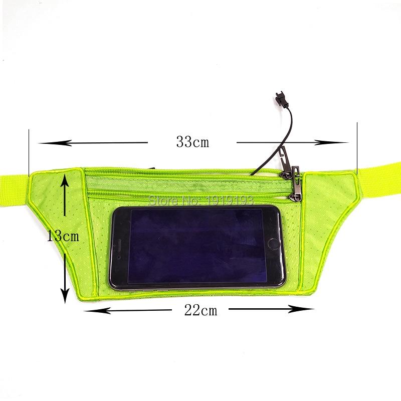 Wholesale 5pcs Portable EL Rope Blinking Sport Belt Bag Led Neon Phone Fanny Packs Night Riding Led Light Strip Waist Pocket