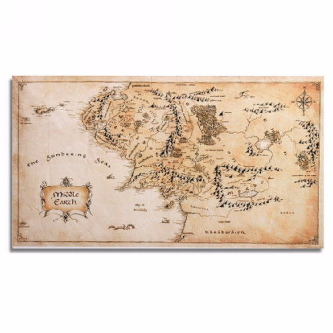 1pc Silk Cloth Middle Earth World Map110x60cm Poster Decoration Mayitr Home Office Wall Sticker Decor