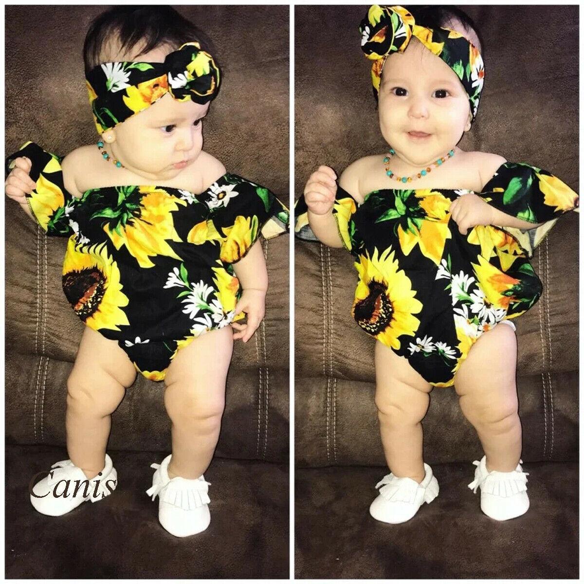Newborn Baby Girl Summer Clothes Sunflower Print Off Shoulder Bodysuits Sunsuit Headband 2pcs Outfits Set