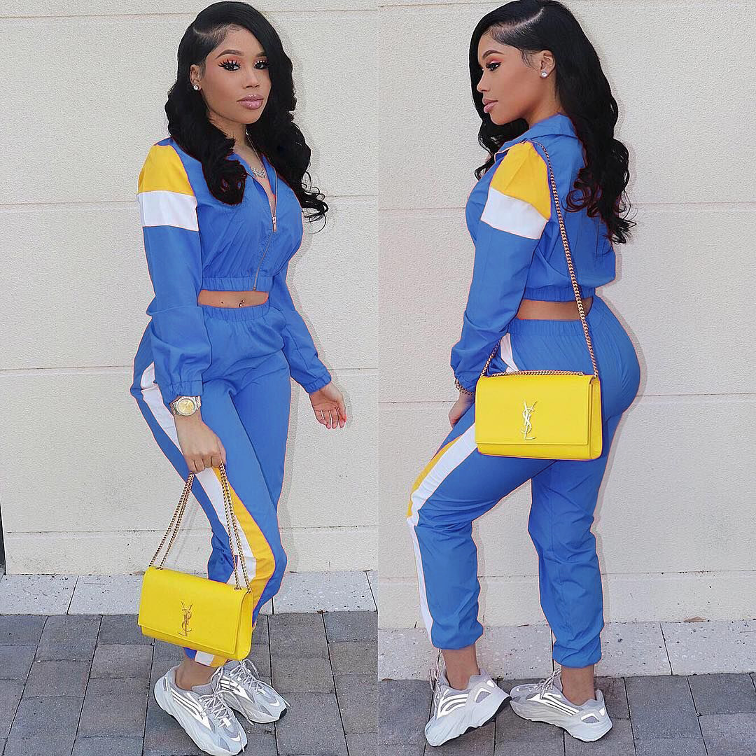 Women Two Pieces Sets Color Block Club Outfits 2019 Front Zipper Full Sleeve Crop Tops And Pants Suit Casual 2 Piece Tracksuits