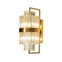Современный хрустальный настенный светильник роскошный золотой k9 кристалл лампа для гостиной отель коридор светодиодный фонари