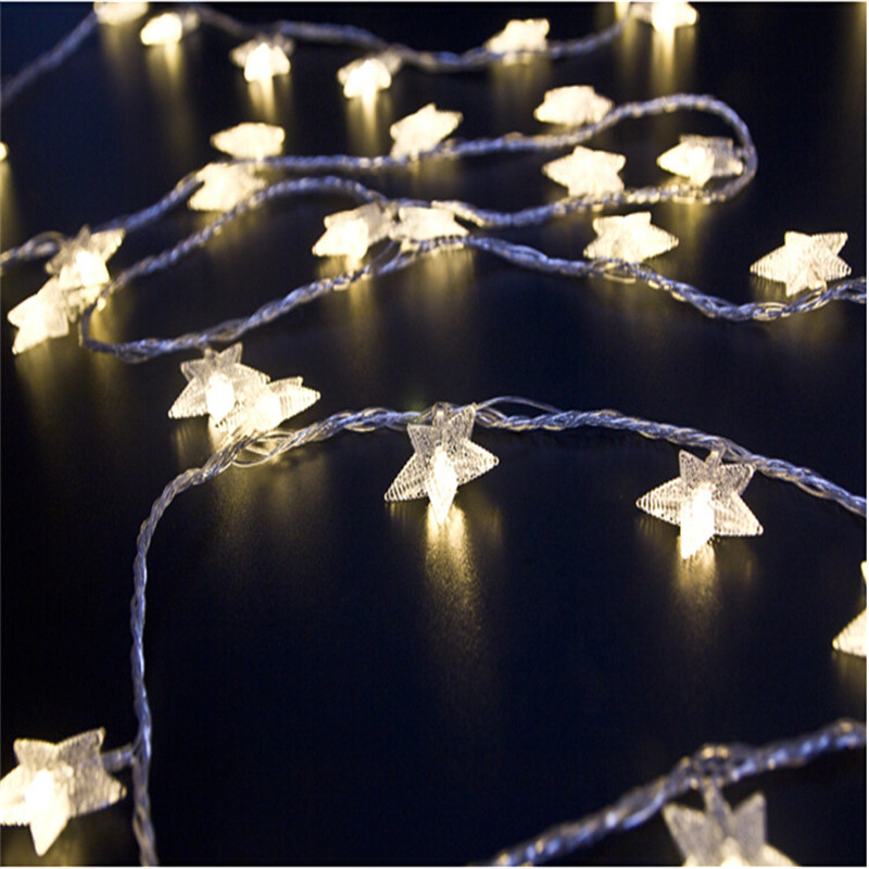 4M 20Led Lights Julgran Snow Star Lampor Led String Fairy Light Xmas Party Bröllop Garden Garland Juldekorationer