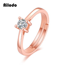 Ailodo Elegant Crystal Adjustable Rings For Women Girls Rose Gold Color Engagement Wedding Rings Fashion Party Jewelry LD147 цена и фото