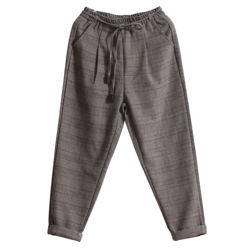 Marron Plaid gris Lâche Neuf Laine Occasionnel Automne Élastique Littéraire Taille Pantalon Printemps Polyvalent Femmes C7BwPxqqf