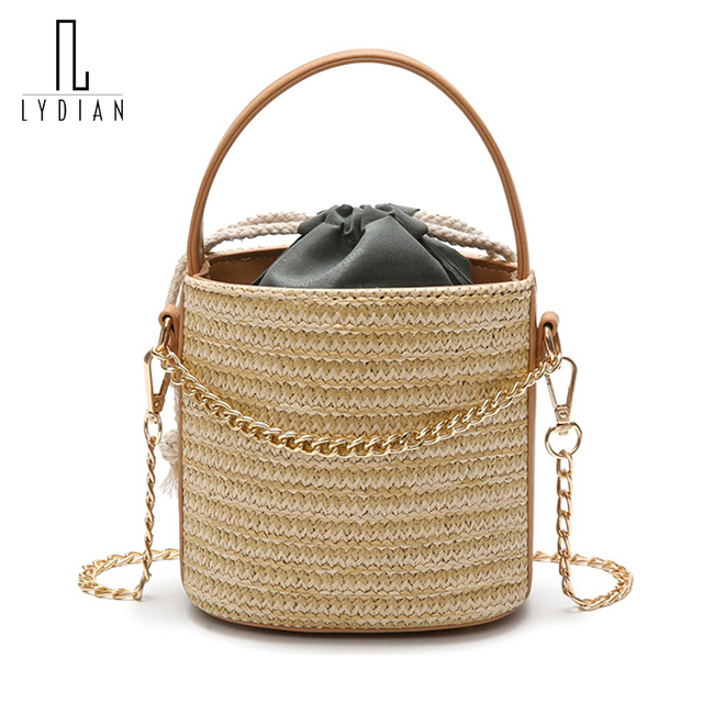 Lydian super Hot Sale Beach Bag Women Bag Straw Bucket Bag String Closed Handbags Small Messenger Shoulder Tote Chain Bolsa Saco