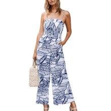 7d1f11370b Strapless Bandage Jumpsuit Long Wide Leg Jumpsuit Women Leaves Printing  Jumpsuits Rompers Backless Sleeveless Belt Jumpsuits