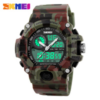 Men Sports Watches Military Watch Dual Time Digital Quartz LED Chronograph Dive Outdoor Dress Wristwatches 4Colors