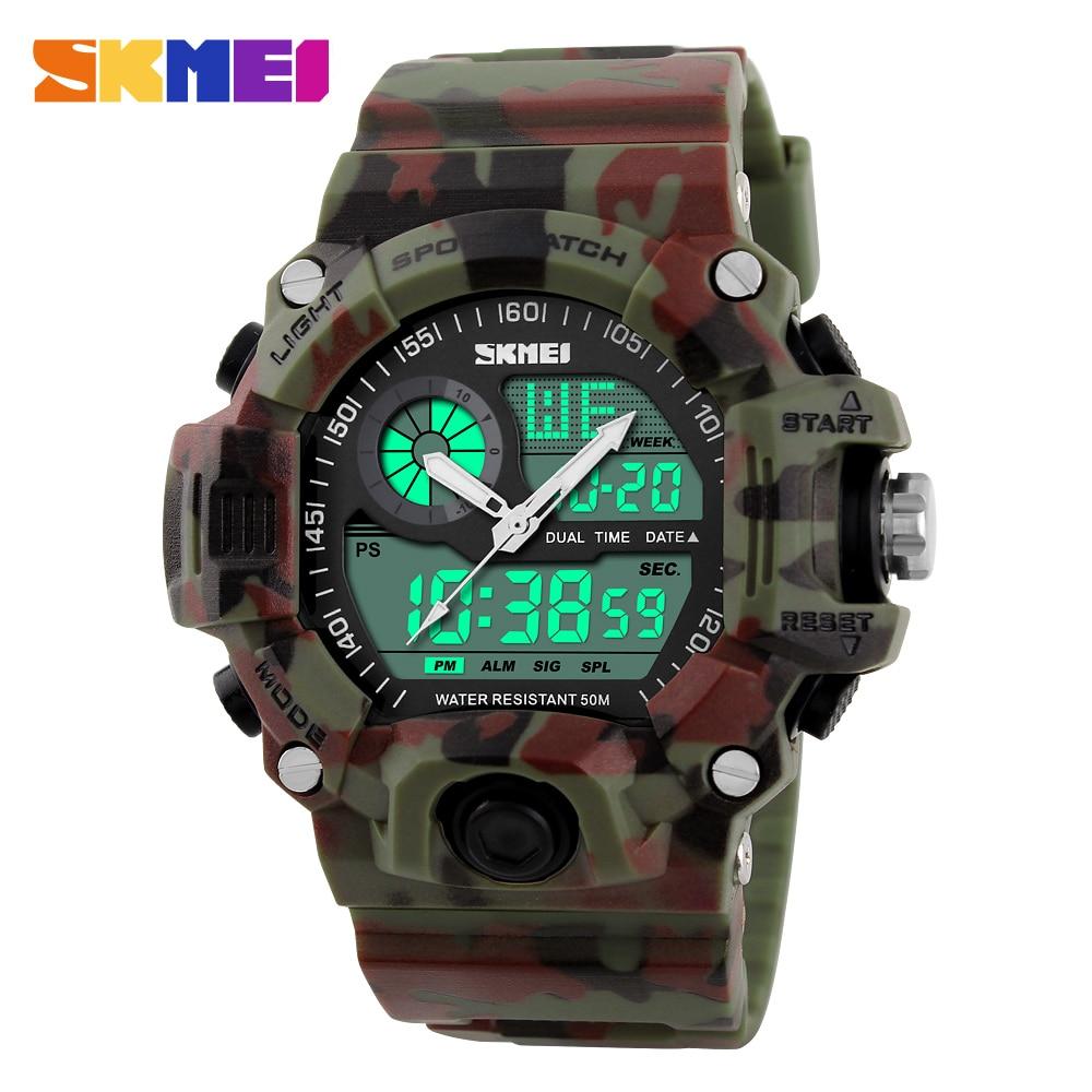 Men Sports Watches Military Watch Dual Time Digital Quartz LED Chronograph Dive Outdoor Dress Wristwatches 2019 New Clock
