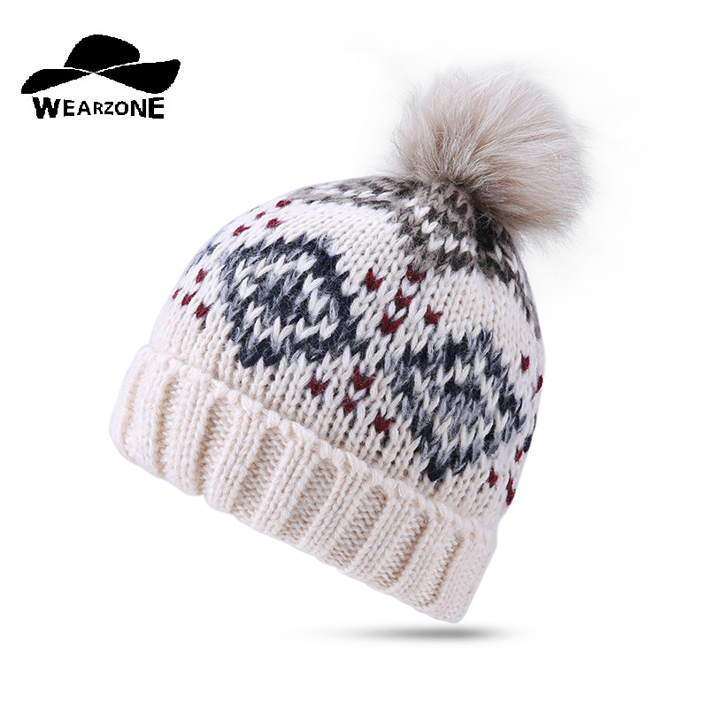 2017 Woman's Hats Winter Faux Fur Ball cap pom poms kintting Thick Skullies Beanies warm gorros de lana mujer Caps female hat winter hats for women thick beanies gorros de lana mujer knitted wool skullies warm snapback hip hop cap bonnets en laine homme