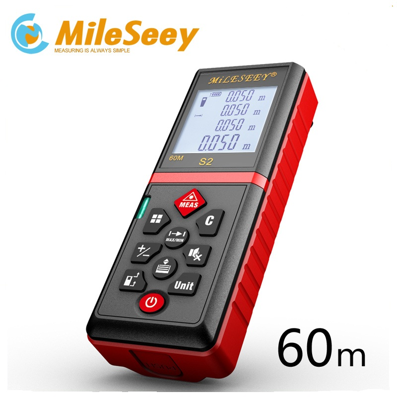 Mileseey S2 Medidor láser de distancia de 40 m 60 m 100 M telémetro láser cinta regla medida/Área de volumen herramienta