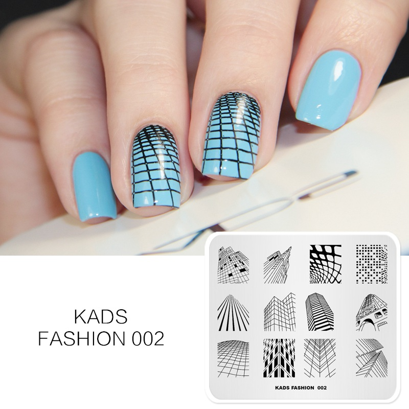 KADS New Arrival Fashion 002 Series Design Skyscrapers Building Shape Stamp Nail Plate Nail Art Decorations Polish Stamp