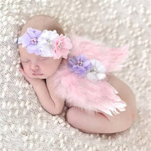Angel Wings Feather Wings Baby Girl Flower Pearl Headband Photo Shoot Hair Accessories For Newborn Photography Props 0-6 Months(China)