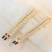 1 pair Fashion Women Simulated-pearls Braided Hair Pins Elegant Big Hair Slides Handmade Beads Hair Barrettes Bobby Pins каталка big bobby car next 56230