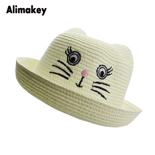 e323e820396d 2018 Trip Straw Fedora Classic Boy&Girls Sombrero Caps Wide Brim Flat hat  Wheat Straw Caps Cat