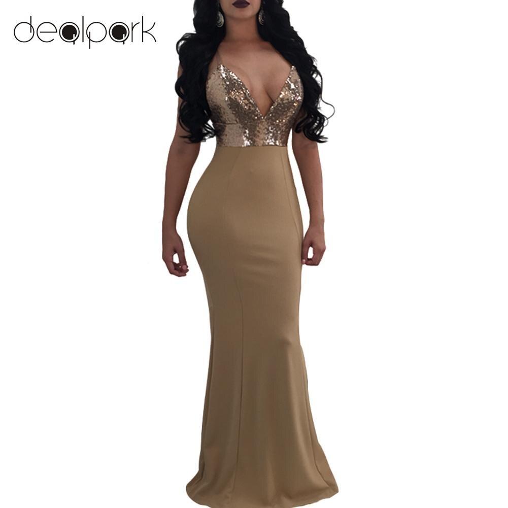 Summer Sexy Women Slip Sequined Bodycon Dress V Neck Backless Sleeveless  Long Bandage Maxi Dress Clubwear ff6c2b66c9cf