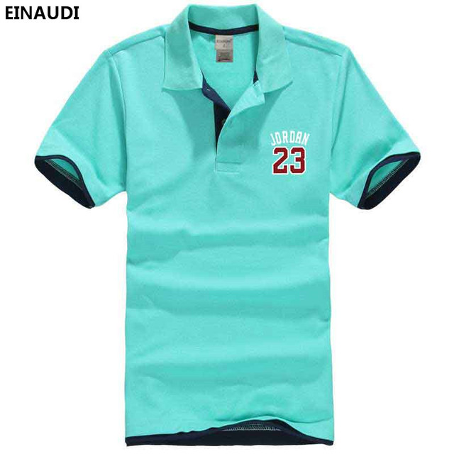 50a443827f4 EINAUDI Summer Men Printed Jerseys JORDAN 23 High Quality Slim Polo Shirt  Mens Short Sleeve Camisas