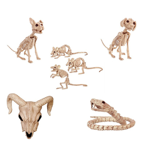 Halloween Decoration Animals Skeleton Mouse Dog Cat Ram Skull Bone Ornaments Hallowmas Horror Haunted House Party Decoration