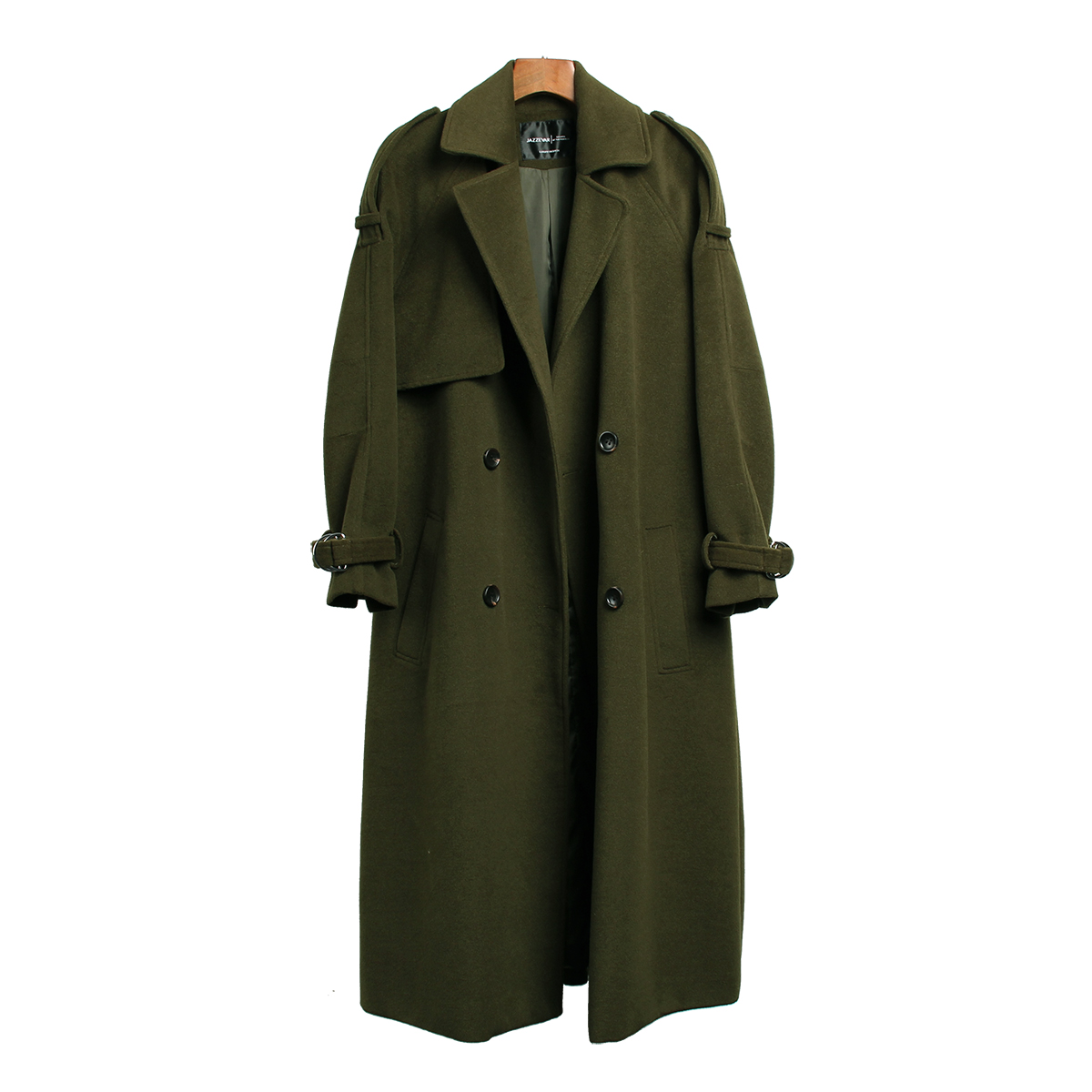 JAZZEVAR 19 Autumn winter New Women's Casual wool blend trench coat oversize Double Breasted X-Long coat with belt 860504 5