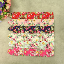 12pcs/lot Rose Flower Hairbands Children Large Rabbit Ear Headbands Sakura Floral Print Bow Headwear Baby Girls Hair Accessories