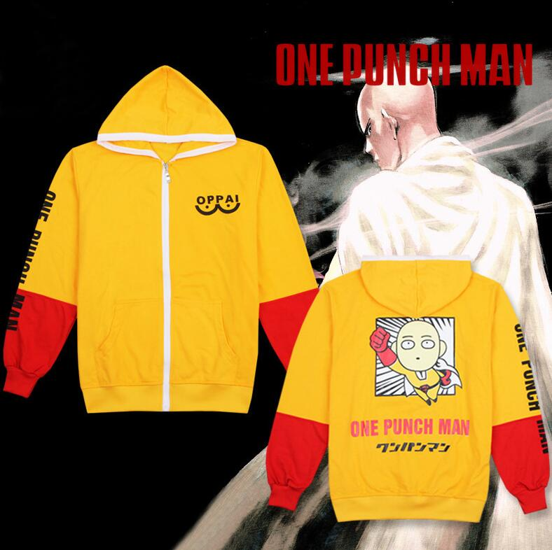 Anime ONE PUNCH MAN Saitama Oppai Hoodie Cosplay Costume Yellow Hooded Cardigan Sweatshirt Cute Cartoon Jacket