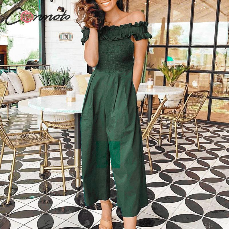 Conmoto Women 2019 Fashion Off Shoulder Jumpsuit Female Casual High Waist Ruffle Long Romper Mujer Chic Solid Color Slim Jumpsut